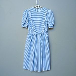 Vintage Blue White Stripe Cottagecore Pocket Dress